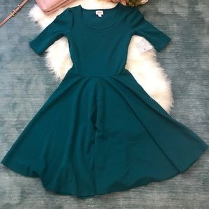 NWT LulaRoe Nicole Teal Textured Dress Size S